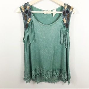 (Gimmicks by BKE) Fringe Boho Beaded Tank Top